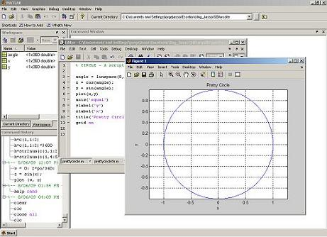 Matlab Edit Window - with a circle in a Figure Window